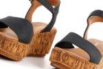 Ежедневни черни дамски сандали от естествена кожа на висок ток 04.082