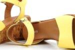 Ежедневни жълти дамски сандали от естествена кожа на висок ток 04.082