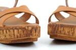 Ежедневни камелени дамски сандали от естествена кожа на висок ток 04.2226