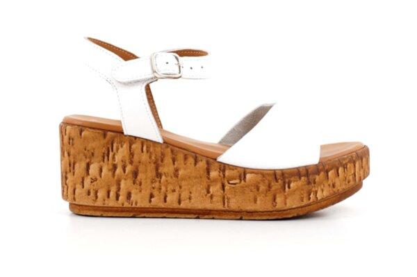 Ежедневни бели дамски сандали от естествена кожа на висок ток 04.082