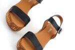 Ежедневни черни дамски сандали от естествена кожа на висок ток 04.080