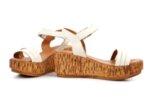 Ежедневни бежови дамски сандали от естествена кожа на висок ток 04.080