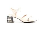 Елегантни бели дамски сандали от еко кожа на висок ток 47.22436