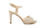 Елегантни златни дамски сандали от текстил на висок ток 47.22268