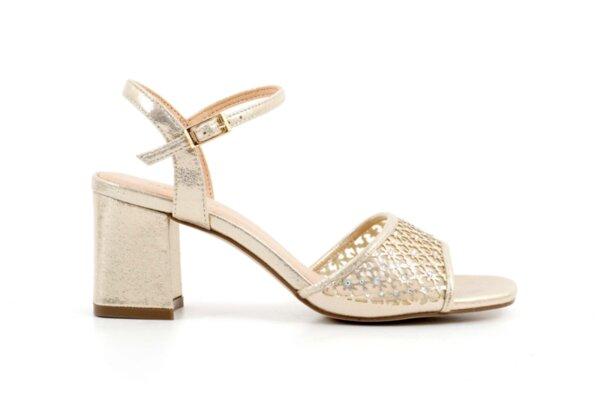 Елегантни златни дамски сандали от еко кожа на висок ток 47.22256
