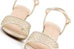 Елегантни златни дамски сандали от текстил на висок ток 47.22256