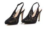 Елегантни черни дамски сандали от текстил на висок ток 47.22270