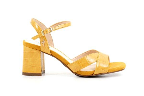 Елегантни жълти дамски сандали от еко кожа на висок ток 47.22514