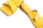 Дамски жълти чехли от естествен лак 56.2802