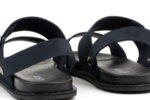 Ежедневни сини мъжки сандали от естествен набук 57.316