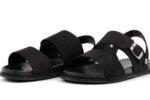 Ежедневни черни мъжки сандали от естествен набук 57.316