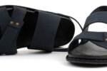 Ежедневни сини мъжки сандали от естествен набук 57.313