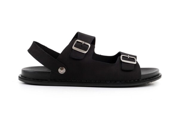 Ежедневни черни мъжки сандали от естествен набук 57.317