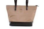 Дамска кафява чанта от еко кожа и сатенен плат 17.2364