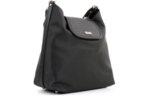 Дамска черна чанта от еко кожа и сатенен плат 17.2365