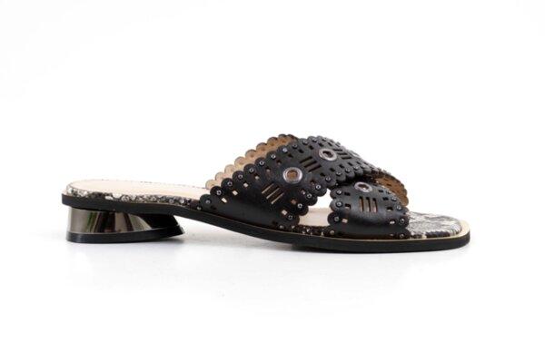 Дамски черни чехли от естествена кожа 29.11809