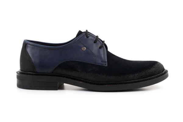 Елегантни сини мъжки обувки от естествен велур и кожа 57.26013