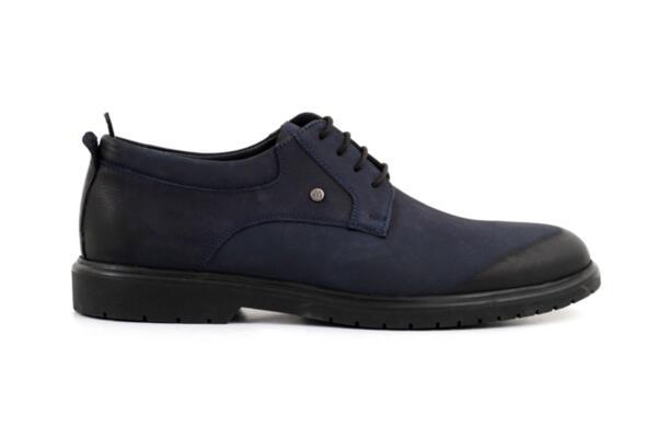 Елегантни сини мъжки обувки от естествен набук 57.26023
