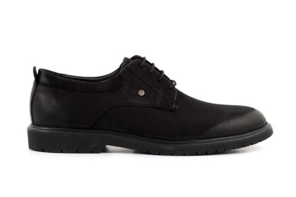 Елегантни черни мъжки обувки от естествен набук 57.26023