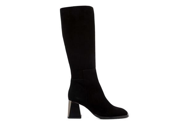 Елегантни черни дамски ботуши от естествен велур на висок ток 29.148