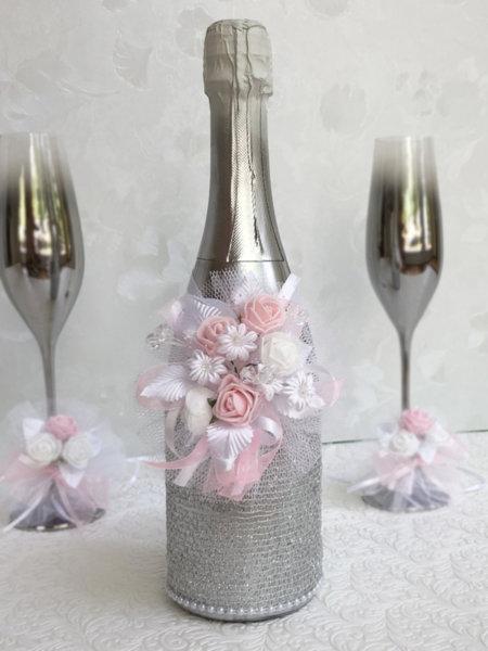 Сребърно шампанско с розови розички (или друг цвят по избор) 63