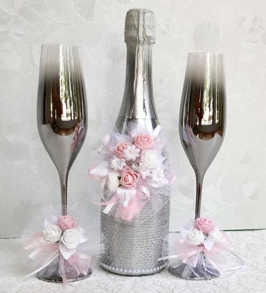 Сватбен сребърен комплект шампанско, чаши и украса за чаши K37