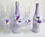 Сватбен комплект шампанско, вино и украса за чаши K38