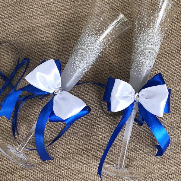 Тъмно синя украса за чаши и свещи от панделки