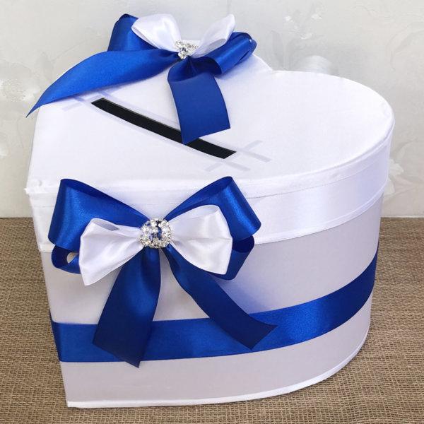 Сватбена кутия за пари с панделки в тъмно синьо