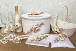 Сватбен комплект от аксесоари с божури в цвят пепел от рози K40