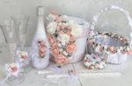 Сватбен комплект в цвят пудра и розова праскова K40