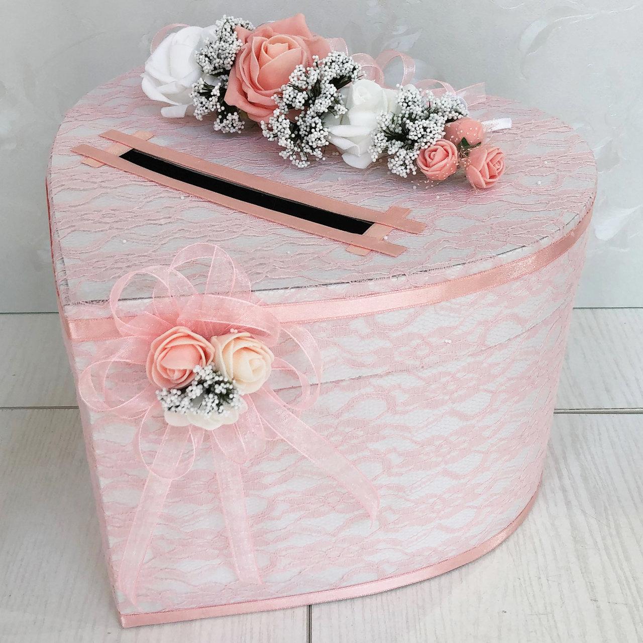 Сватбена кутия в розова праскова