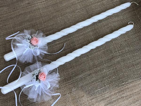 Украса за сватбени свещи и чаши в розова праскова