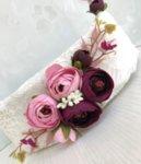 Сватбен комплект аксесоари с божури в тъмно лилаво