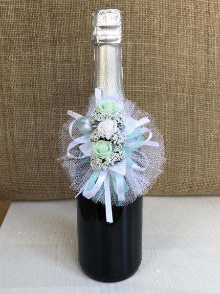 Украса за сватбено шампанско в цвят мента U6