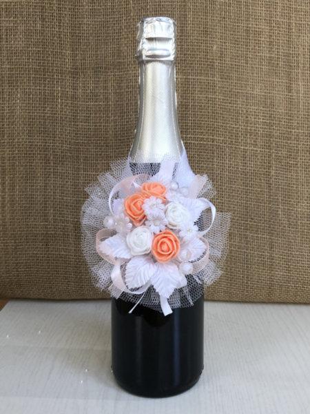 Подвижна украса за сватбено шампанско в светло синьо U21
