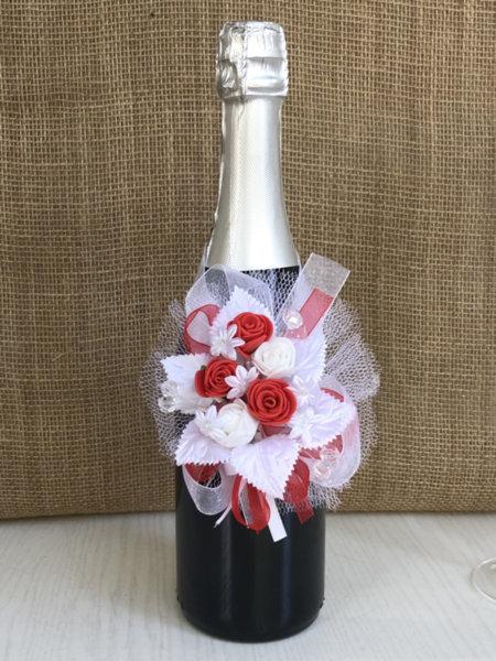 Украса за шампанско в червено U22