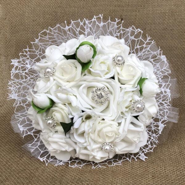 Булчински букет от бели рози N17