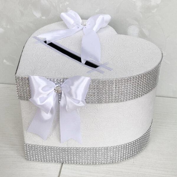 Сватбена кутия за пари в бяло и сребърни камъни  H41