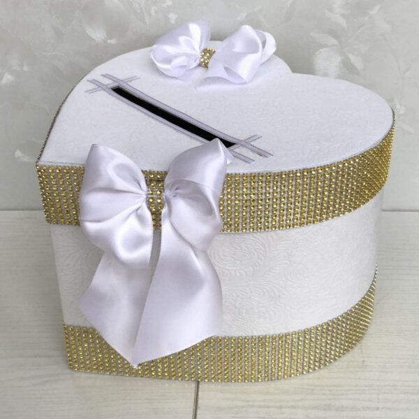 Кутия за сватбени пожелания в бяло и златни камъни H42