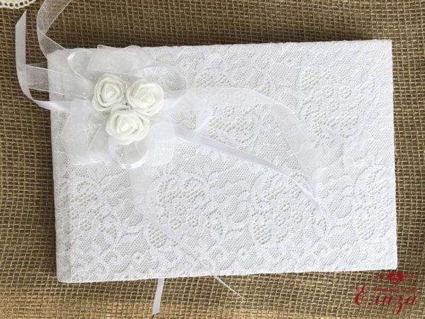 Сватбена книга за пожелания в бяло с дантела B2