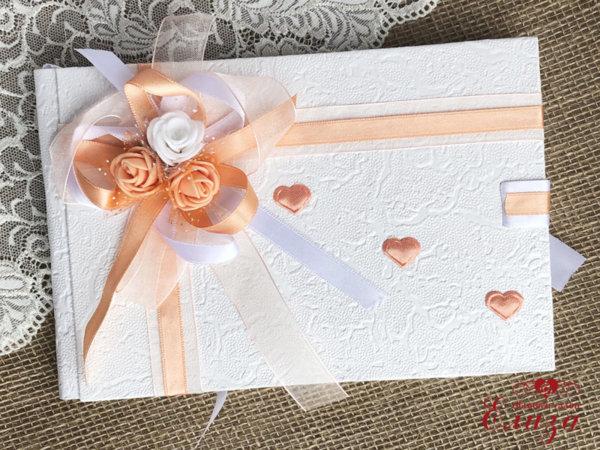Сватбена книга за пожелания в цвят праскова B3