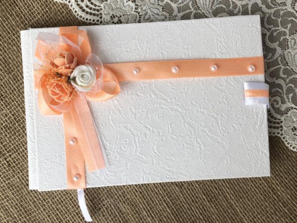 Сватбена книга за пожелания в бяло и праскова B4
