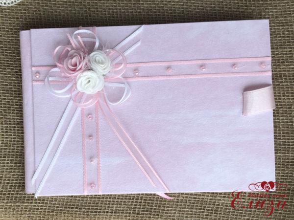 Книга за сватбени пожелания в розово B8