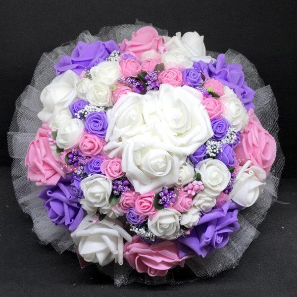 Булчински букет от изкуствени рози в розово, лилаво и бяло N1