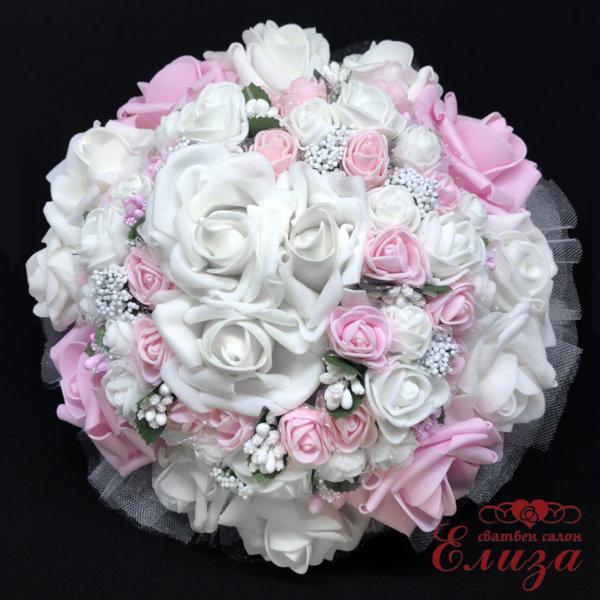 Луксозен булчински букет от рози в розово и бяло N3