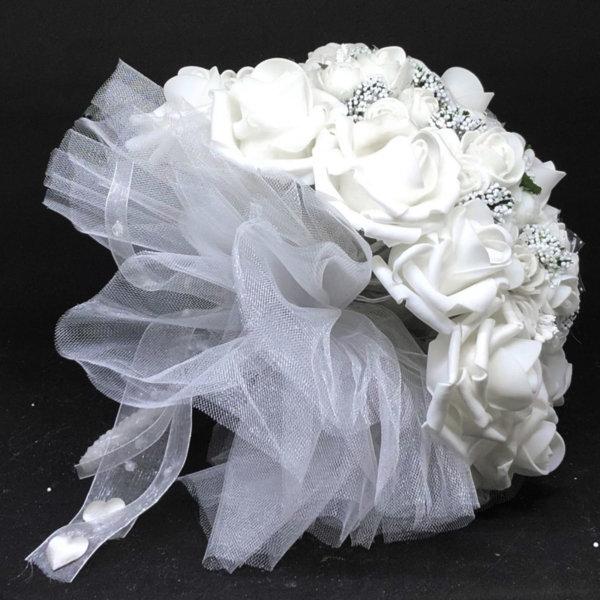 Стилен булчински букет в бяло с перлена дръжка N8