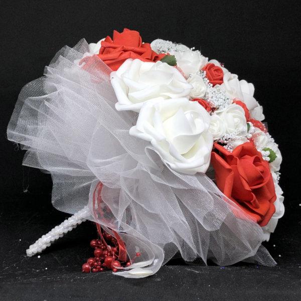 Сватбен букет за булка в червено N10