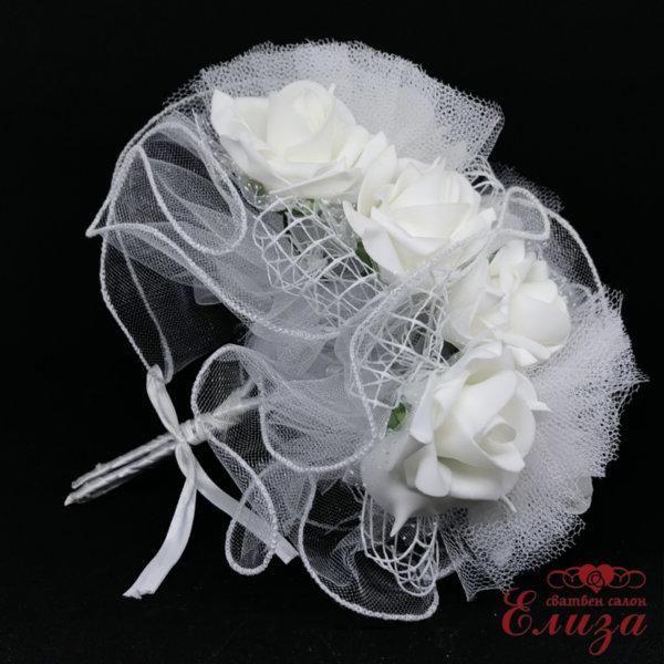 Сватбен букет за хвърляне от големи рози R2 бяло