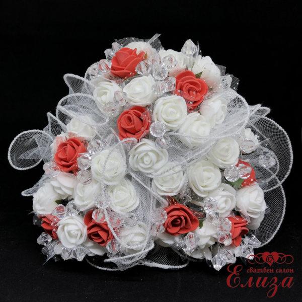 Сватбен букет за хвърляне от малки рози R3 червено